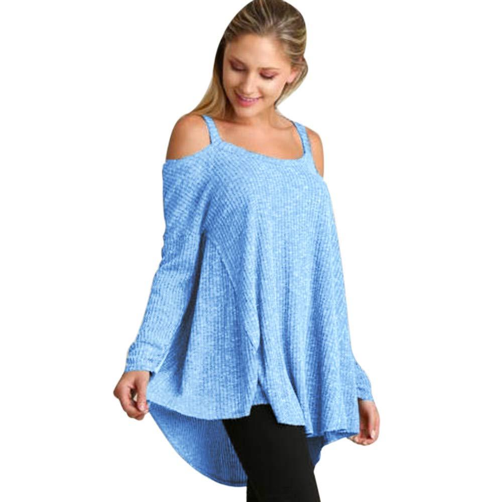 UONQD Women Solid O-Neck Long Sleeve Strapless Sling Loose Blouse T-Shirt (Medium,Blue)