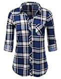 JJ Perfection Womens Long Sleeve Collared Button Down Plaid Flannel Shirt Bluegrey L