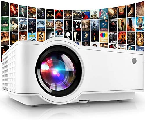 Projector, [2021 Updated] Mini Projector 1080P Supported, 5500 Lux 210″ Display with 52,000 Hrs LED Movie Projector Compatible with Phone,Computer,Laptop,USB,HDMI,VGA-Home,Office,Outdoor Entertainment