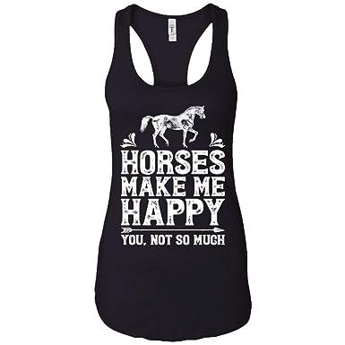 2dd4e0b9895ab1 Amazon.com  Horses Make Me Happy You Not So Much Horse Tank Top Girls Gift  - Women s Racerback Tank  Clothing