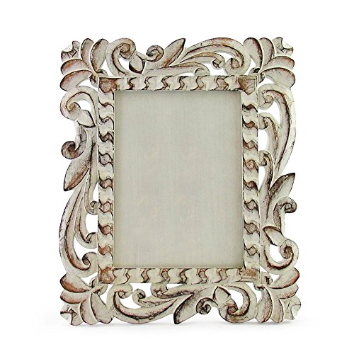 "30cm x 25cm Hand Carved Photo Frame, Indonesian Style, for 6x8"" Prints White / Brown Wash"