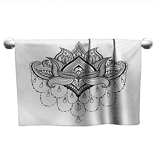 "alisoso Henna,Wholesale Towels Ethnic Zentengle Tattoo Style Ornamental Lotus Flower Japanese Culture Inspired Art Bath Towels for Kids Black White W 20"" x L 20"""