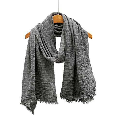 WS Natural Scarf / Shawl / Wrap Linen Feel Scarves For Men And Women. (Charcoal (Black Linen Scarf)