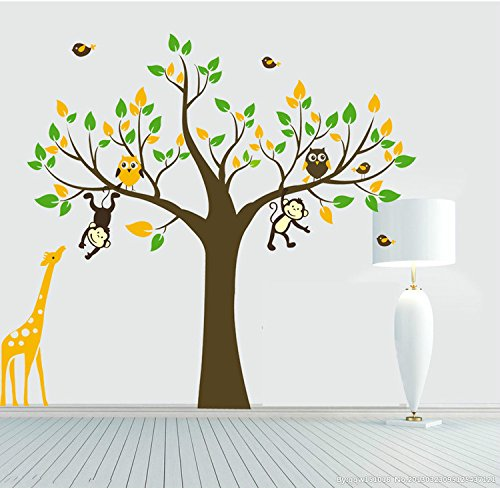 Yanqiao Cartoon Animal Monkey Giraffe Owls Wall Sticker Diy Posters Removable Art Decals for Kids Rooms (Animal That Starts With M)