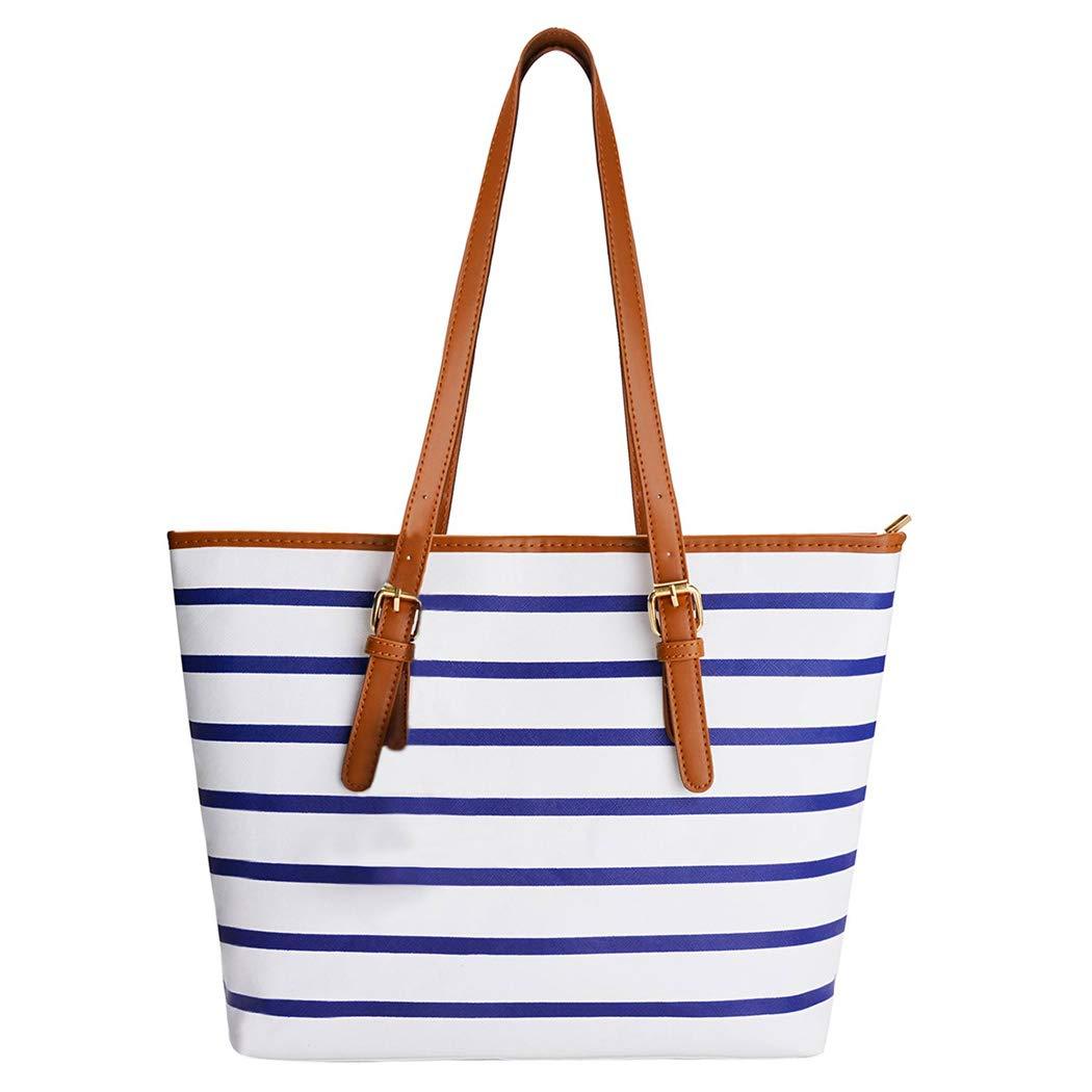 e31ba9c8f633cc Amazon.com: Summer Bag,COOFIT Stripes Purse Tote Shoulder bag Womens Handbag  PU Leather Purse Blue&White: Clothing