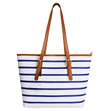 93ba91b4e166b7 Summer Bag,COOFIT Stripes Purse Tote Shoulder bag Womens Handbag PU Leather  Purse Blue&White