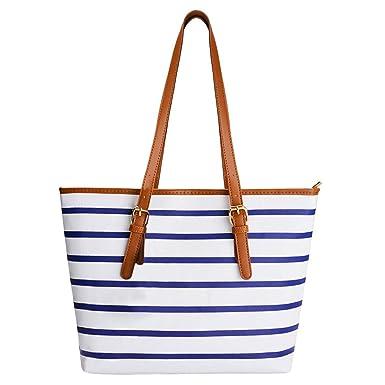 bf6a41b739b87d Summer Bag,COOFIT Stripes Purse Tote Shoulder bag Womens Handbag PU Leather  Purse Blue&White
