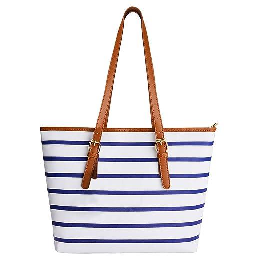 600645c7f5a COOFIT Stripe Purse Tote Bag Stripes Top Handle Tote Bag Satchel Handbag  Shoulder Bag PU Leather Purse for Women