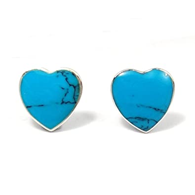 36b89e39e Image Unavailable. Image not available for. Color: Simulated Turquoise Nice  Heart .925 Sterling Silver Post Earrings