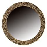 Essential Décor Entrada Collection Round Wooden Twig Mirror, 39.98 by 2.76-Inch