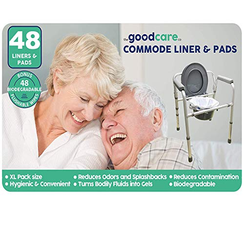 Commode Liners with Absorbent Pad (48 Pack) - Free Wipes Bonus - Disposable for Bedside Hygiene