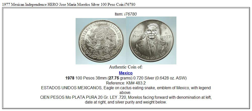 1977 MX 1977 Mexican Independence HERO Jose Maria Morelos coin Good Uncertified at Amazons Collectible Coins Store