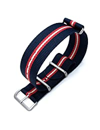 MiLTAT 22mm G10 NATO Watch Band, Thick Nylon, Brushed - Blue, Red, Beige