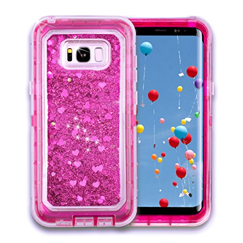 Samsung Galaxy S8+ Plus,Shockproof Dual Layer Glitter Sparkle Quicksand Liquid Cover Bumper Anti-Drop Hard PC Frame + Soft TPU Back for Samsung Galaxy S8+ Plus(2017 Release) (Hot Pink)