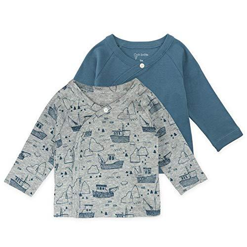 Baby Boy Tee Set, 2-Pack Long Sleeve Kimono Wrap Tee Shirts