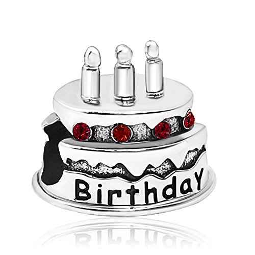 JMQJewelry Happy Birthday Charms Cake Candle Red January Crystal Charms Beads For Bracelets