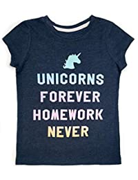 Novel Teez Designs Girls' Unicorns Forever Short Sleeve T-Shirt with Glitter