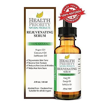 100% natural Suero Rejuvenecedor. All Natural suero para rostro, cuello, pecho - Fórmula suave cuidado - perfecto para todos los tipos de piel - gran ...
