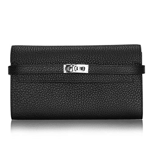 LUCKYSGY Women's Long Wallet Togo Leather Padlock Clutch Purse Card Holder Handbag for Lady (Black)