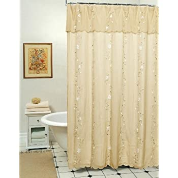 Best Creative Linens Daisy Embroidered Floral Fabric Shower Curtain Sage Green