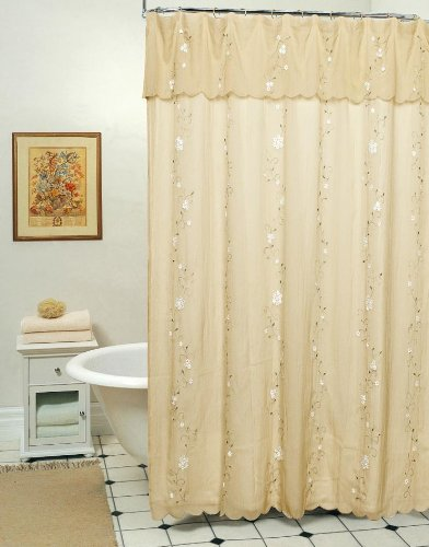 Shower Valance Curtain (Creative Linens Daisy Embroidered Floral Fabric Shower Curtain with attached Valance Taupe Tan)