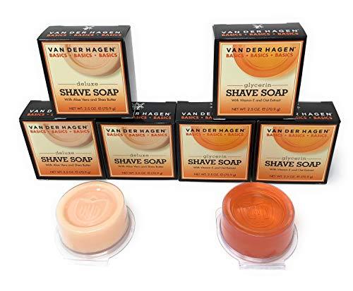 Van Der Hagen Deluxe (3-Count) and Glycerin (3-Count) Shave Soap Variety Bundle (Packaging May Vary) (Van Der Hagen Glycerin)