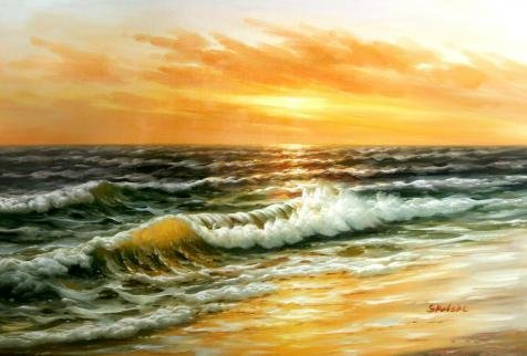 [The Perfect Effect Canvas Of Oil Painting 'Seascape: Sea Waves' ,size: 12x18 Inch / 30x45 Cm ,this Imitations Art DecorativePrints On Canvas Is Fit For Game Room Decoration And Home Artwork And Gifts] (45 Coffee Wave Art)