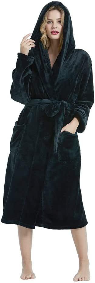 HEARTNICE Womens Hooded Fleece Robe, Soft Plush Bathrobe for Womens, Fluffy Cute Long House Coat