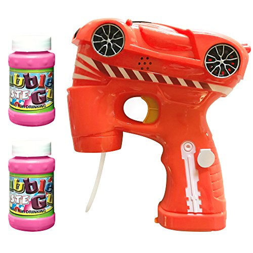 LilPals Amazing Cool CAR Bubble Gun Shooter - Bubble Blaster Features Light, Sound & 3 PRE-Filled Bubble Solution CARTRIDGES for Kids 3 Years Old and UP (Orange) -
