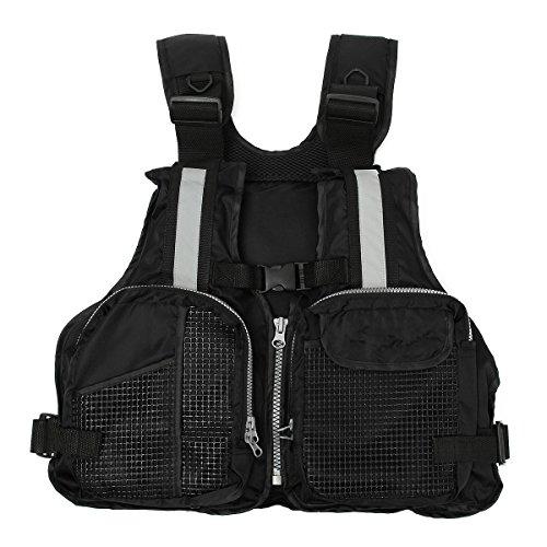 Fly Life Vest - Slimerence Fly Fishing Vest Pack, Boat Aid Sailing Kayak Floating Life Jacket Vest, Adjustable Adjustable Belt of Size for Men and Women Black