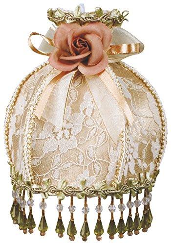 Royal Designs NL-107 Beaded Tan Victorian Nightlight Designer Brocade Fabric Off-White/Light Gold Trims, Tan