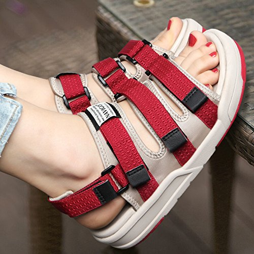 Xing Lin Ladies Sandals Sandals Student Shoes Lady Lovers Summer Casual Shoes Outdoor Sneakers, 37, Red