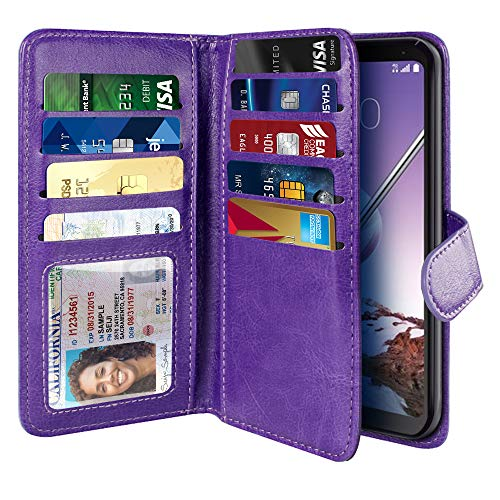(NEXTKIN Case Compatible with LG Stylo 4, Leather Dual Wallet Folio TPU Cover, 2 Large Pockets Double flap, Multi Card Slots Snap Button Strap For LG Stylo 4 - Purple)