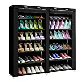 FKUO 43.3-inch 7-layer 9-grid Non-woven fabrics large shoe rack organizer removable shoe storage for home furniture shoe cabinet(Black-A)