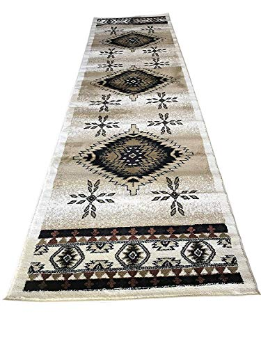 Bellagio Southwest Native American Tribal Runner 256,000 Point Area Rug Ivory Brown Rust Beige Tan Design T9641(2 Feet X 7 Feet 3 Inch) (And Rugs Rust Brown)
