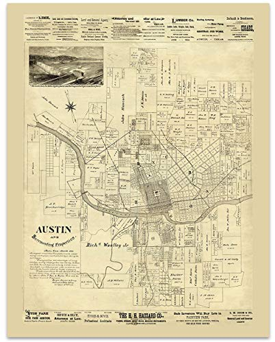 (Austin Texas Vintage Map Circa 1891-11 x 14 Unframed Print - Great Housewarming Gift. Austin Themed Office Decor. Great Gift for a Real Estate Agent or Developer)