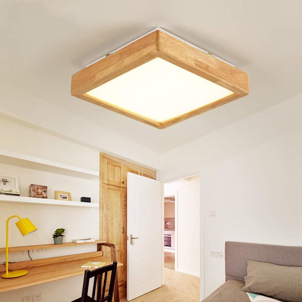 Amazon.com: Lámpara de techo cuadrada de madera de 12 W ...