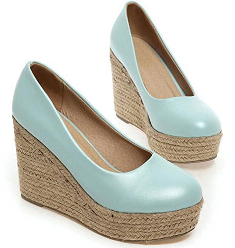 Easemax Womens Comfy Woven Round Toe Dress High Heels Platform Slip On Wedge Pumps Shoes Blue 2iX2T91