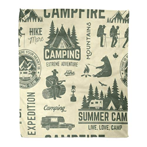 Golee Throw Blanket Summer Camp Retro Rv Trailer Tent Mountain Campfire Hiker 50x60 Inches Warm Fuzzy Soft Blanket for Bed Sofa