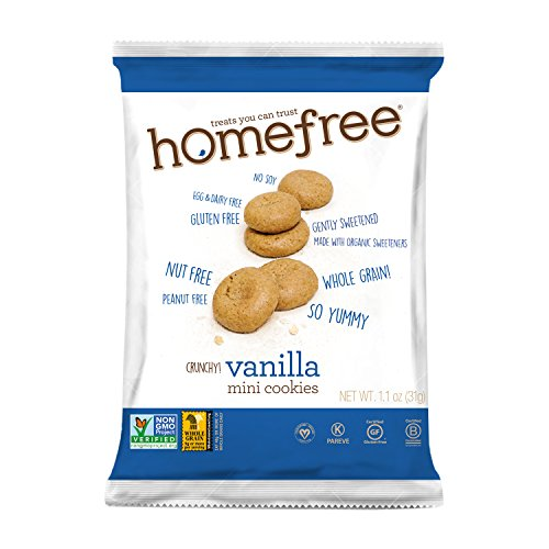 Homefree Treats You Can Trust Gluten Free Mini Vanilla Cookie, 70% organic, Single Serve bag, 1.1 Ounce (Pack of 10) (Cookies Soy Vanilla)