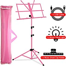 Music Stand, Kasonic Professional Collapsible Orchestra Portable and Lightweight with LED light, Music Sheet Clip Holder and Carrying Bag Suitable for Instrumental Performance (Pink)