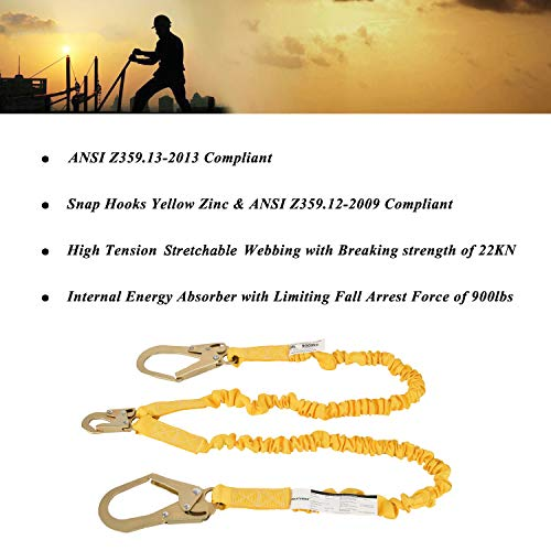 WELKFORDER Double Leg 6-Foot Fall Protection Internal Shock Absorbing Stretchable Safety Lanyard with Snap & Rebar Hook Connectors ANSI Complaint by WELKFORDER (Image #3)