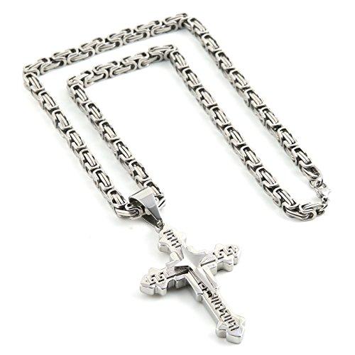 Men's Stainless Steel Silver Tone Greek Key Cross Pendant Necklace Mechanic Style 22 Inch Chain (Silver Tone Pendant Necklace Chain)