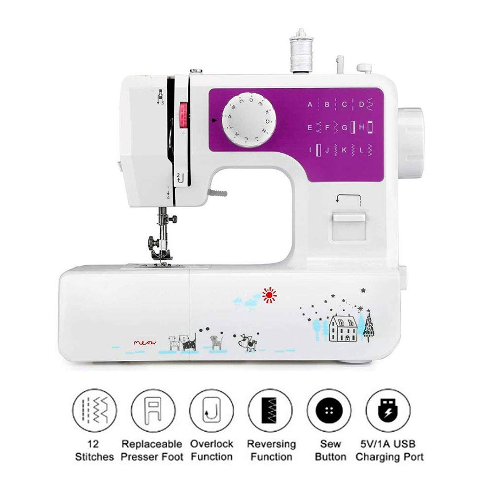 ZYG.GG Sewing Machine 12 Stitch Patterns Foot Pedal Double Speed Control Sewing Machine with Replaceable Presser Small Household Sewing Tool 2 Speed by ZYG.GG