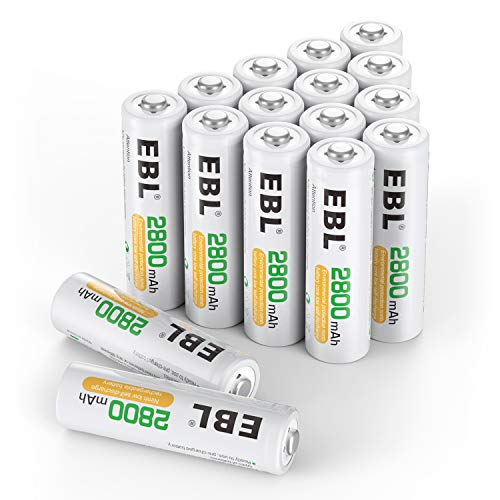 - EBL AA Rechargeable Batteries 2800mAh Ready2Charge Quality AA Batteries - 16 Counts