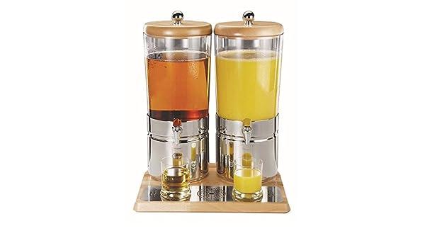 Dispensador de zumo de APS - top Fresh Wood Duo -, ca. 42 x 35 cm, altura 52 cm 2 x 6 litros, madera de haya sellada resistente al agua: Amazon.es: Hogar