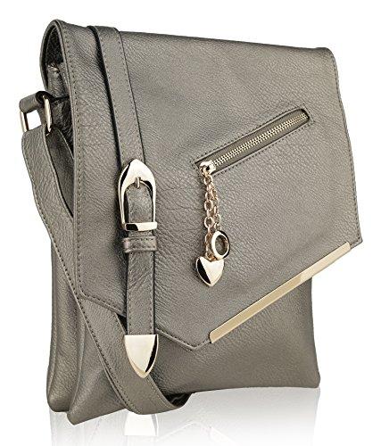 MKF Crossbody Bag for Women - Adjustable Strap - Vegan Leather Tote Shoulder Handbag - Messenger Purse Pewter