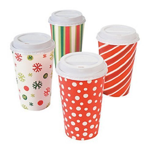 Fun Express 16 oz. Paper Bright Christmas Insulated Coffee Cups (12 Cups)