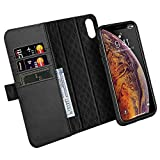 ZOVER Detachable Wallet Case Compatible with iPhone Xs Max with Auto Sleep/Wake Kickstand Feature RFID Blocking Genuine Leather Cards Bison Fone Slots Magnetic Clasps Gift Box Black