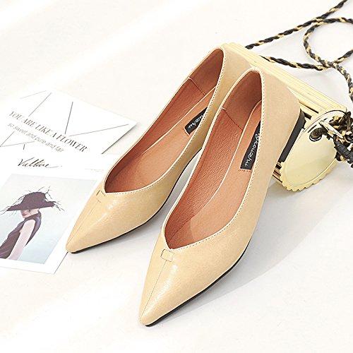 Xue Qiqi Qiqi Qiqi Court Schuhe Spitz Flache Schuhe Flacher Mund Flach mit einzelnen Schuhen Frauen Einfach niedrighackige Vier Schuhe Damenschuhe 39 Aprikose a21751